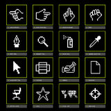 Digicons Black. Bitmap old style computer icons vector illustration