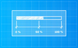 Digiral download bar on a blueprint background Stock Photo