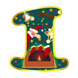 Digit 1 with Christmas symbols Stock Images