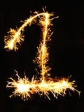 Digit 1 made of sparklers Stock Photo
