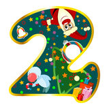 Digit 2 with Christmas symbols Stock Photos