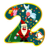 Digit 2 with Christmas symbols Royalty Free Stock Photo