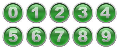 Digit buttons. Green glossy buttons with white digit isolated over white background set Royalty Free Stock Photo