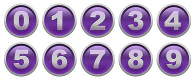 Digit buttons. Violet glossy buttons with white digit isolated over white background set Royalty Free Stock Photo