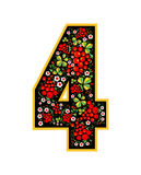 4 Digit character in the Russian style. The style of Khokhloma on the font. A symbol in the style of a Russian doll on a. 4 in the Russian style. The style of stock illustration