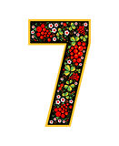 7 Digit character in the Russian style. The style of Khokhloma on the font. A symbol in the style of a Russian doll on a Stock Photo