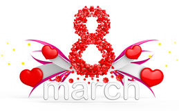 Digit eight consisting of red hearts for March 8 Royalty Free Stock Images