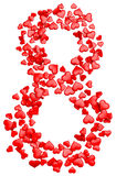 Digit eight consisting of red hearts for March 8 Stock Photography