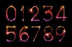Digit set of firework sparklers Royalty Free Stock Photo