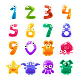 Digit Shaped Animals And Jelly Creatures Set Royalty Free Stock Photos