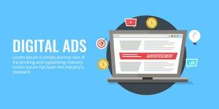 Digitaal advertenties online vertoning reclameconcept Vlakke ontwerp vectorbanner Royalty-vrije Stock Fotografie