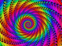 Digitaal Art Abstract Rainbow Spiral Background Stock Afbeelding