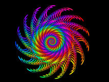 Digitaal Art Abstract Rainbow Spiral Motif Stock Afbeelding