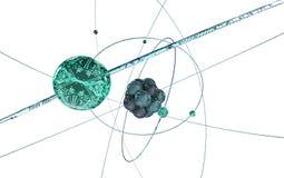 Digitaal atoom op wit Stock Afbeelding