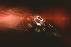 Digitaal beeld van de verlichte 3d interface van de volumeknop Stock Foto