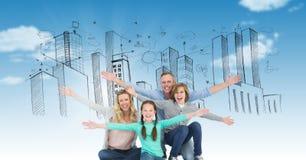 Digitaal beeld van familie met wapens uitgestrekte zitting tegen gebouwen op hemel Royalty-vrije Stock Afbeelding