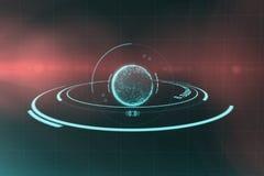 Digitaal beeld van planeet met lichte 3d sleep Stock Afbeeldingen
