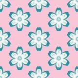 Digitaal blauw bloemen eenvoudig naadloos patroon op roze vector illustratie