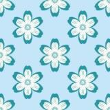 Digitaal blauw bloemen eenvoudig naadloos patroon op blauw vector illustratie