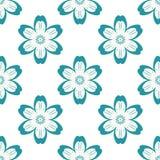 Digitaal blauw bloemen eenvoudig naadloos patroon stock illustratie