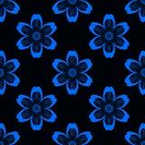 Digitaal blauw bloemen eenvoudig naadloos patroon op zwarte vector illustratie