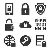Digitaal codeer Geplaatste de Pictogrammen van de Technologieveiligheid Vector stock illustratie