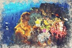 Digitaal die Art Impasto Oil Painting door Fotograaf wordt gecreeerd stock illustratie