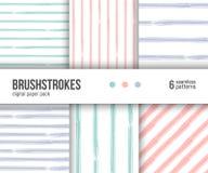 Digitaal document pak, 6 abstracte patronen Hand getrokken geweven penseelstrekenachtergronden, gestreepte patronen stock illustratie