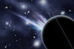 Digitaal gecreërd starfield met planeet Royalty-vrije Stock Afbeelding