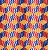 Digitaal gecreeerd die, ellipsen op kubusoppervlakten in kaart worden gebracht, kleurrijke textuur Royalty-vrije Stock Foto's