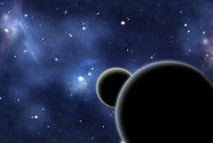 Digitaal gecreërd starfield met twee planeten Royalty-vrije Stock Afbeeldingen