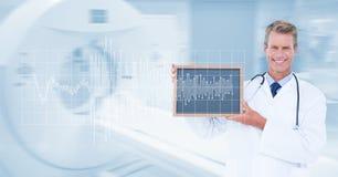 Digitaal geproduceerd beeld die van mannelijke arts lei met impuls en MRI-aftastenmachine op achtergrond tonen stock afbeeldingen