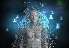 Digitaal geproduceerd beeld van 3d mens met voorzien van een netwerkpictogrammen Royalty-vrije Stock Fotografie