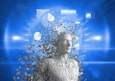 Digitaal geproduceerd beeld van 3d mens over blauwe achtergrond Stock Afbeelding