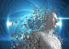 Digitaal geproduceerd beeld van 3d mens over blauwe achtergrond Stock Afbeeldingen