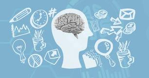 Digitaal geproduceerd beeld van diverse pictogrammen die hersenen omringen royalty-vrije stock afbeelding