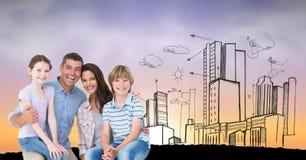 Digitaal geproduceerd beeld van gelukkige familie met gebouwen op achtergrond Stock Foto