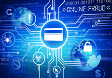 Digitaal Geproduceerd Beeld van Online Fraudeconcept vector illustratie