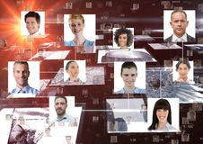 Digitaal geproduceerd beeld van portretten de bedrijfs van mensen stock afbeeldingen