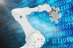 Digitaal geproduceerd beeld van robot met 3d figuurzaagstuk Stock Afbeelding
