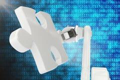 Digitaal geproduceerd beeld van robot met 3d figuurzaagstuk Stock Afbeeldingen