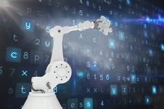 Digitaal geproduceerd beeld van robotachtig 3d de figuurzaagstuk van de wapenholding Stock Foto's