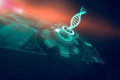 Digitaal geproduceerd beeld van verlichte volumeknop met DNA-3d bundel Stock Foto's