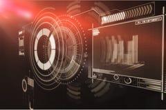 Digitaal geproduceerd beeld van volumeknop met grafische 3d gegevens Stock Foto