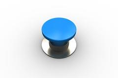 Digitaal geproduceerde glanzende blauwe drukknop Stock Foto's