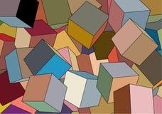 Digitaal geproduceerde kubussen in 3D, willekeurig samen geworpen aan vorm modern ontwerp Royalty-vrije Stock Fotografie