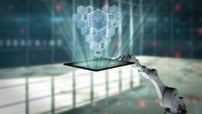 Digitaal geproduceerde video die van wit robotachtig wapen digitale tablet met medische pictogrammen houden vector illustratie