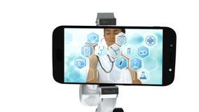 Digitaal geproduceerde video die van wit robotachtig wapen mobiele telefoon houden dat medische pictogrammen op puinkegel toont stock illustratie