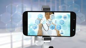 Digitaal geproduceerde video die van wit robotachtig wapen mobiele telefoon houden dat medische pictogrammen op puinkegel toont vector illustratie