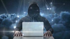 Digitaal geproduceerde video van hakker die laptop met behulp van vector illustratie